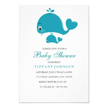 Gender-Neutral Cute Whale Baby Shower invitation