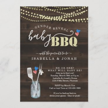 Gender Reveal Baby BBQ Invitation  Baby Q Barbeque