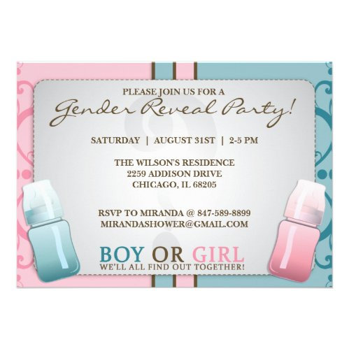 Gender Reveal Baby Bottle Boy or Girl Invitations