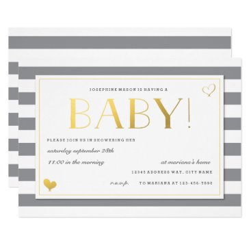 Gender Reveal Baby Shower in Gray & Faux Gold Invitation