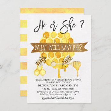 Gender Reveal Bee Themed Baby Shower Invitation