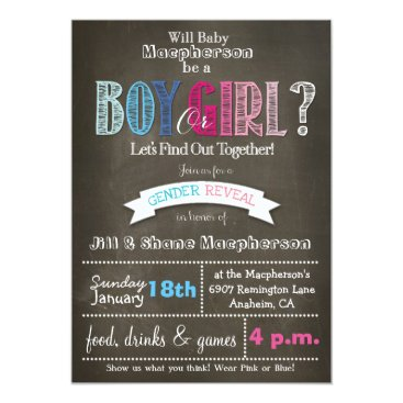 Gender Reveal Chalkboard Invitation 5 x 7