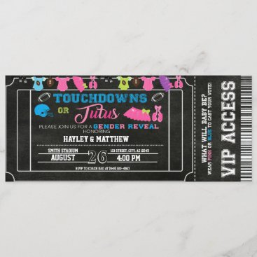 Gender Reveal Football Ticket Touchdown or Tutus Invitation