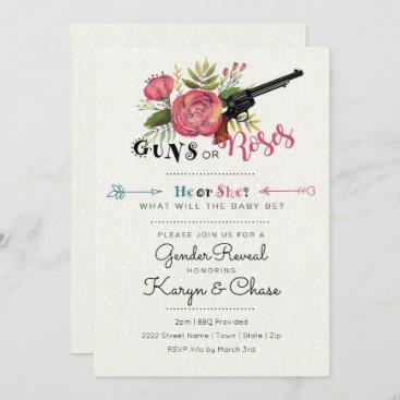 Gender Reveal Guns or Roses Invitation