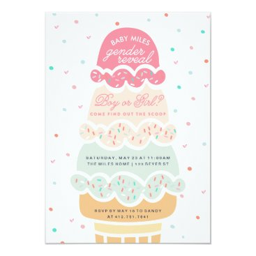 GENDER REVEAL - here's the scoop ice cream party Invitation