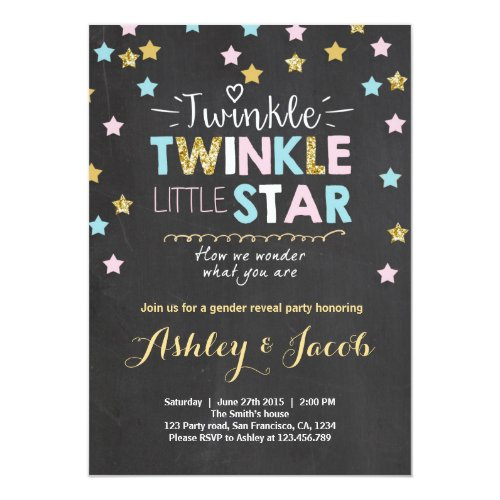 Gender reveal invitation Baby shower Twinkle Star