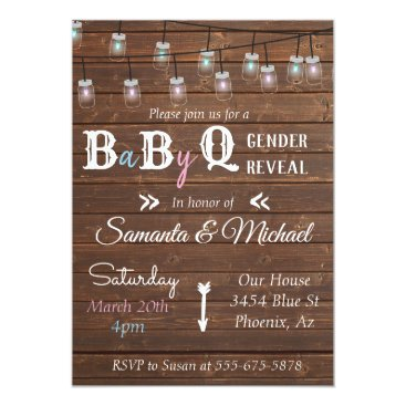 Gender Reveal Party BBQ Rustic Wood Invitation
