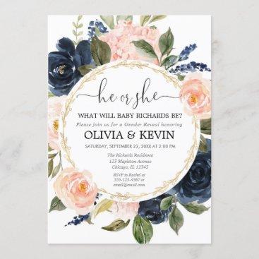 Gender reveal pink blue floral watercolors invitation