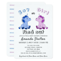 Gender Reveal Unicorn Baby Shower Invitation Card