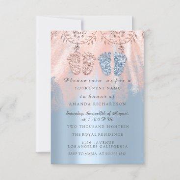 Gender Revival Feet Silver Girl Boy Royal Twins 1 Invitation