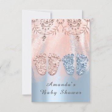 Gender Revival Feet Silver Girl Boy Royal Twins  Invitation