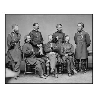 General Sherman and His Staff -- Border Poster