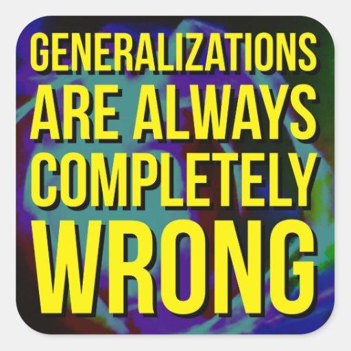 GENERALIZATIONS SQUARE STICKER
