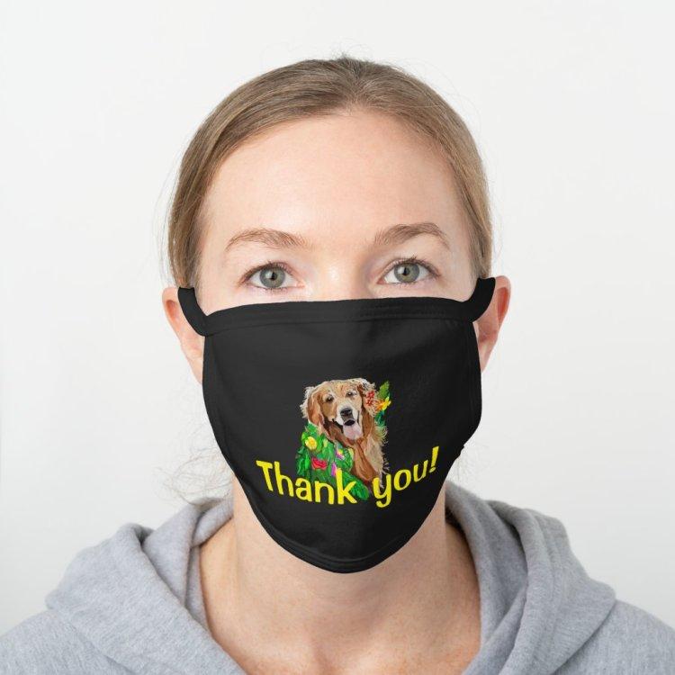 Gentle Golden Retriever Thank You Black Cotton Face Mask