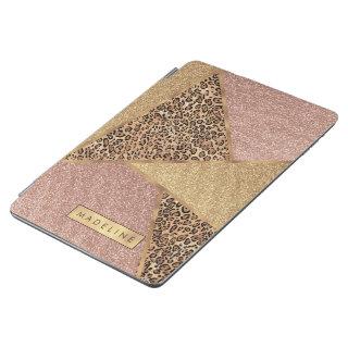 Geometric Rose Gold Blush Glitter Leopard Pattern iPad Air Cover