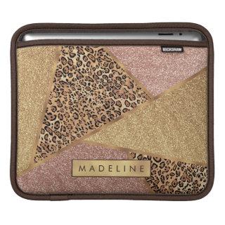 Geometric Rose Gold Blush Glitter Leopard Pattern iPad Sleeve