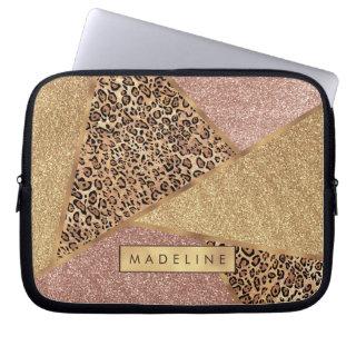 Geometric Rose Gold Blush Glitter Leopard Pattern Laptop Sleeve