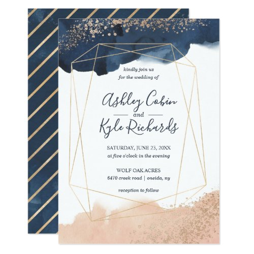 Geometric wedding invite in navy, gold, and blush