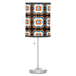 Geometrical Teal Orange Flower Squares Pattern Lamps