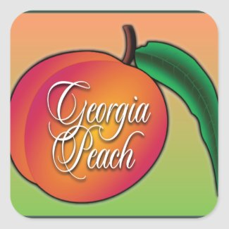 Georgia Peach Square Stickers