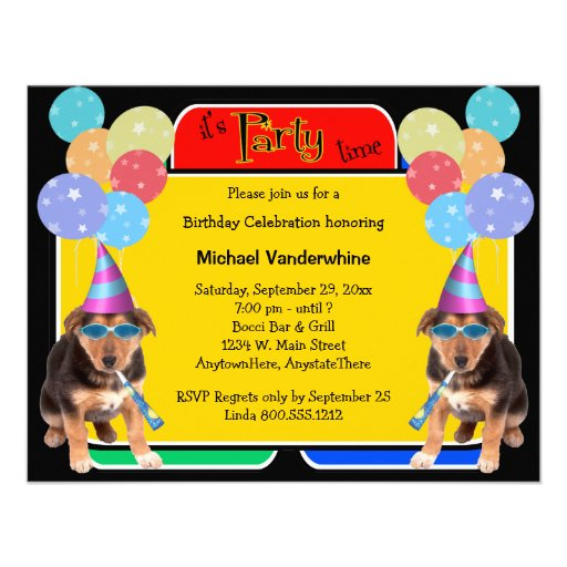 personalized dog birthday party invitations custominvitations4u com