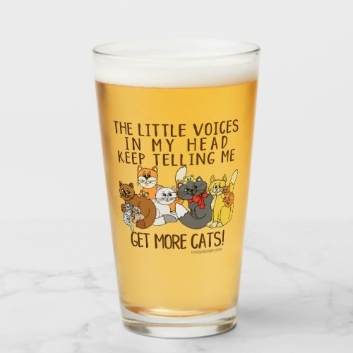 Get More Cats Funny Saying Glass