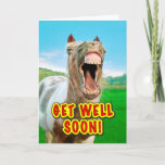 Funny Horse Donkey Get Well Soon Card