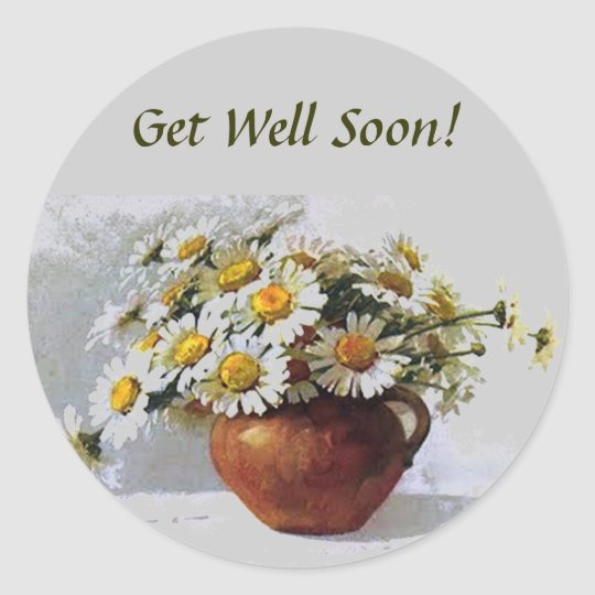 Get Well Soon Vintage Daisies Sticker  Zazzle
