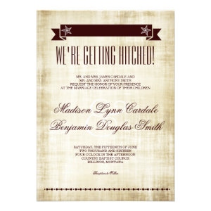 Getting Hitched Rustic Country Wedding Invitations Personalized