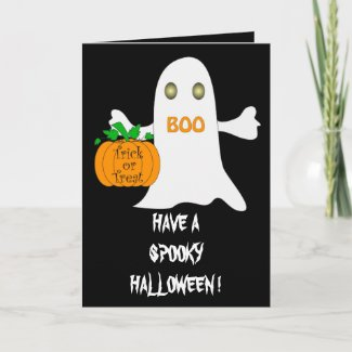 Ghost and pumpkin - Card card