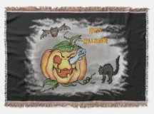 Ghost, Bat and Cat, Happy Halloween! Throw Blanket | Zazzle