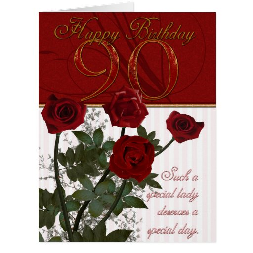 Giant 90th Birthday Card With Roses Zazzle