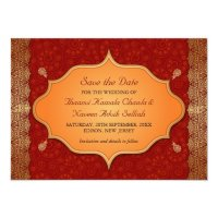 Gilded Edge Indian Frame Save the Date Card | Zazzle