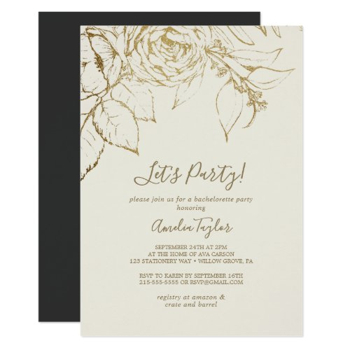 Gilded Floral | Cream and Gold Let's Party Invitation