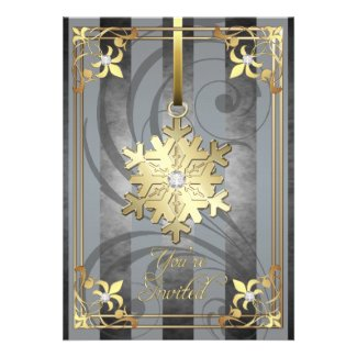 Gilded Glamorous Snowflake Silver Holiday Card