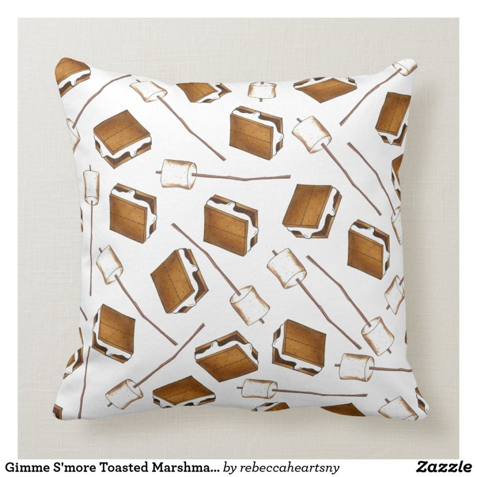 Gimme S'more Toasted Marshmallow Smores Camp Throw Pillow