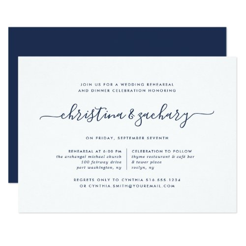 Gin Lane Rehearsal Dinner Invitation | Navy