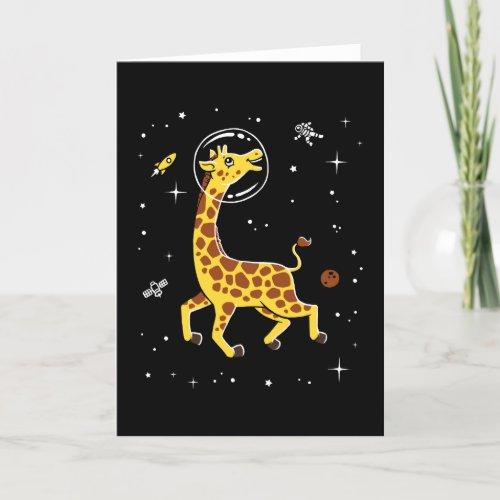 ❤️ Giraffe Animals In Space Card