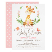 Giraffe Baby Shower, Girl Card