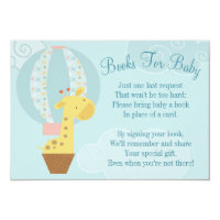 Giraffe Balloon Baby Shower Book Card Bring A Book