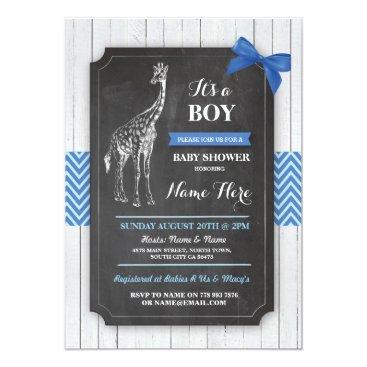 Giraffe Blue Baby Shower Party Boy Wood Invite