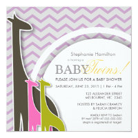 Giraffe chevron baby twins shower invites
