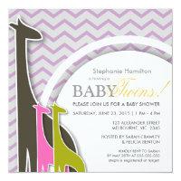 Giraffe chevron baby twins shower invites