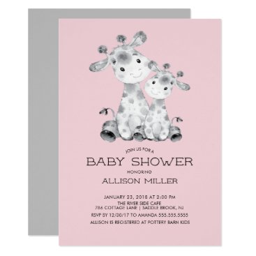 Giraffe Girls baby Shower Invitation