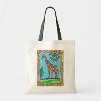 Giraffe Mum and Baby tote bag bag