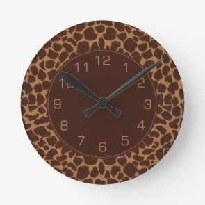 Giraffe Skin Print Pattern Round Wall Clock