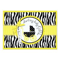 GIRL Baby Carriage, Zebra Print Yellow Baby Shower Card ...