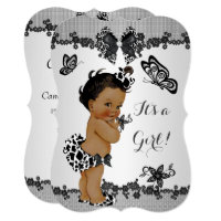 Girl Baby Shower Butterfly Black White Ethnic Card