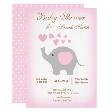 Girl Baby Shower Invitation Elephant Pink Hearts