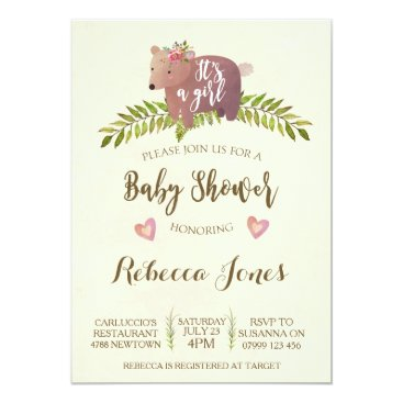 girl baby shower invitation woodland it's a girl